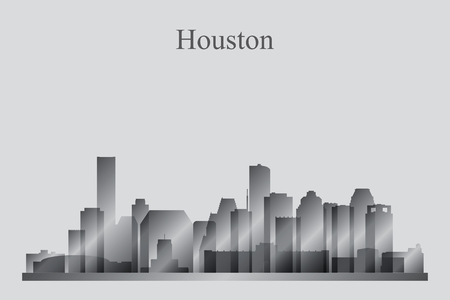 Houston city skyline silhouette in grayscale, vector illustration  イラスト・ベクター素材