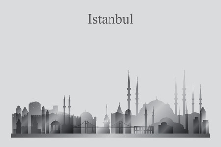 grayscale: Istanbul city skyline silhouette in grayscale, vector illustration