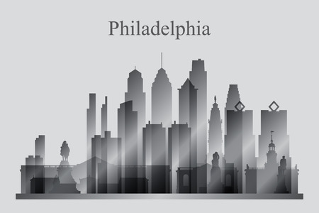 Philadelphia city skyline silhouette in grayscale, vector illustration