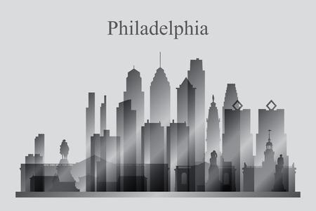 philadelphia: Philadelphia city skyline silhouette in grayscale, vector illustration