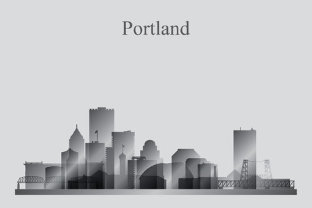 oregon coast: Portland city skyline silhouette in grayscale, vector illustration