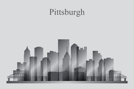 grayscale: Pittsburgh city skyline silhouette in grayscale, vector illustration Illustration
