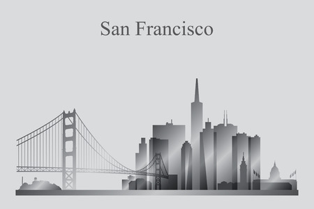 francisco: San Francisco city skyline silhouette in grayscale, vector illustration Illustration