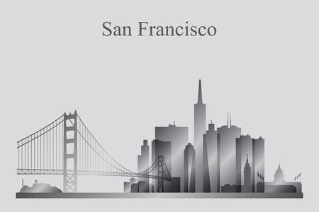 San Francisco city skyline silhouette in grayscale, vector illustration Vettoriali