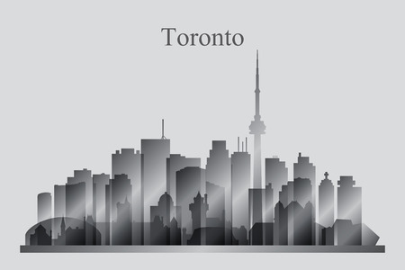 Toronto city skyline silhouette in grayscale, vector illustration