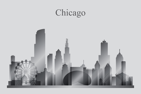 chicago skyline: Chicago city skyline silhouette in grayscale, vector illustration Illustration