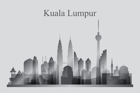 Kuala Lumpur city skyline silhouette in grayscale, vector illustration