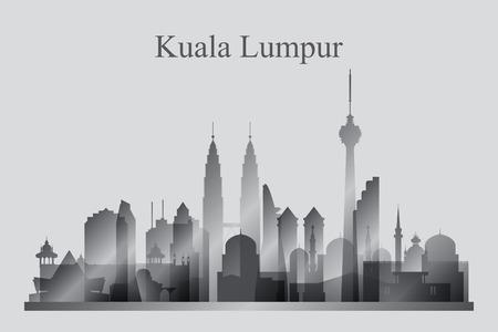 Kuala Lumpur city skyline silhouette in grayscale, vector illustration