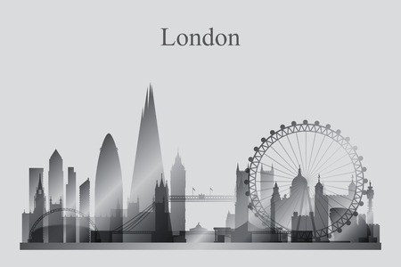 grayscale: London city skyline silhouette in grayscale, vector illustration Illustration