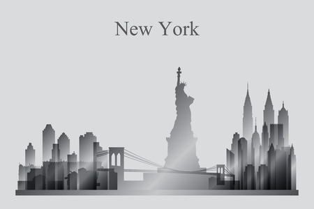 new york city skyline: New York city skyline silhouette in grayscale, vector illustration