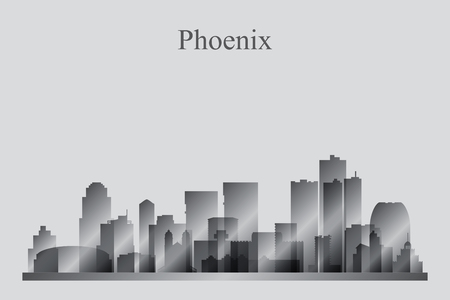 phoenix arizona: Phoenix city skyline silhouette in grayscale, vector illustration Illustration