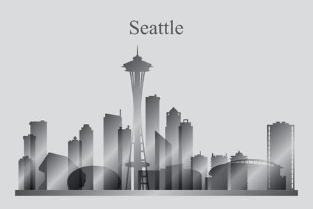 grayscale: Seattle city skyline silhouette in grayscale, vector illustration Illustration