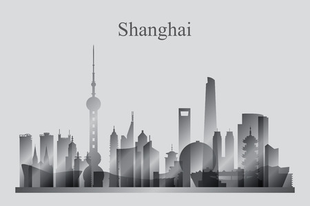 Shanghai city skyline silhouette in grayscale, vector illustration  イラスト・ベクター素材