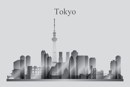 harbor: Tokyo city skyline silhouette in grayscale, vector illustration