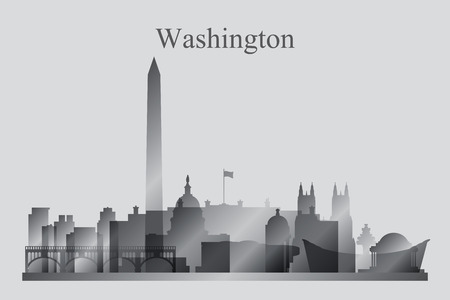 district of columbia: Washington city skyline silhouette in grayscale, vector illustration Illustration
