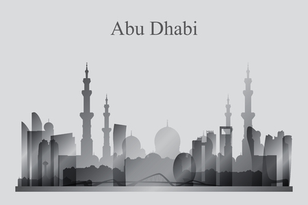 skyline city: Abu Dhabi city skyline silhouette in grayscale, vector illustration Illustration