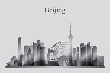 beijing: Beijing city skyline silhouette in grayscale, vector illustration