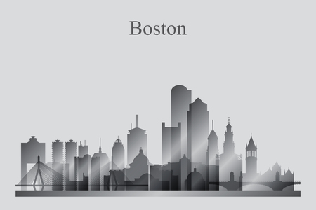 Boston city skyline silhouette in grayscale, vector illustration