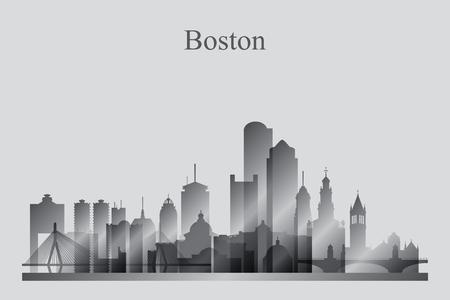 boston skyline: Boston city skyline silhouette in grayscale, vector illustration