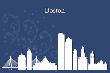 boston: Boston city skyline silhouette on blue background, vector illustration