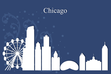Chicago city skyline silhouette on blue background, vector illustration  イラスト・ベクター素材