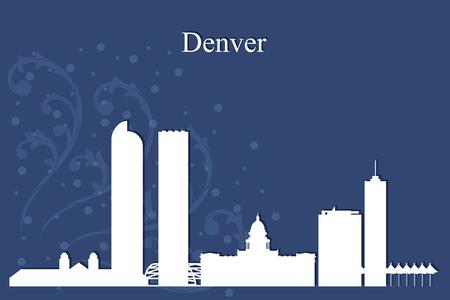 Denver city skyline silhouette on blue background, vector illustration