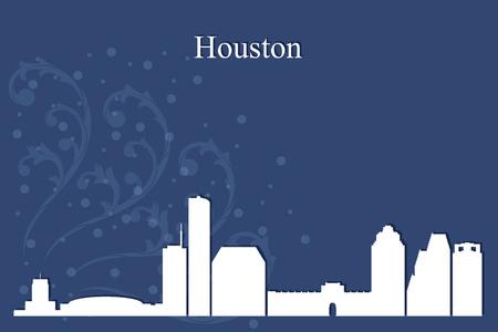 city background: Houston city skyline silhouette on blue background, vector illustration