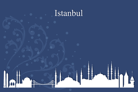 blue mosque: Istanbul city skyline silhouette on blue background, vector illustration