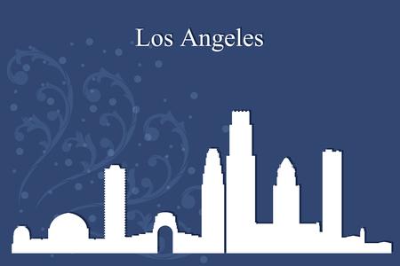 los angeles: Los Angeles city skyline silhouette on blue background, vector illustration
