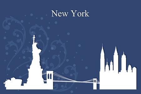 New York city skyline silhouette on blue background, vector illustration