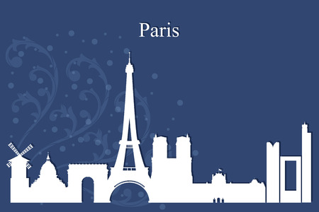 paris skyline: Paris city skyline silhouette on blue background, vector illustration