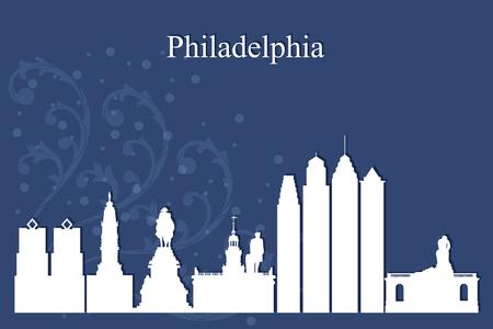 city background: Philadelphia city skyline silhouette on blue background, vector illustration Illustration
