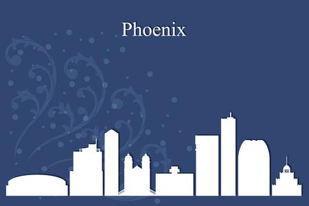 city background: Phoenix city skyline silhouette on blue background, vector illustration