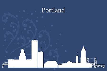oregon coast: Portland city skyline silhouette on blue background, vector illustration