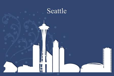 seattle: Seattle city skyline silhouette on blue background, vector illustration