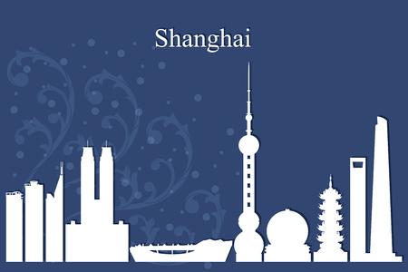 shanghai skyline: Shanghai city skyline silhouette on blue background, vector illustration