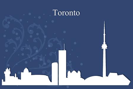 city background: Toronto city skyline silhouette on blue background, vector illustration Illustration