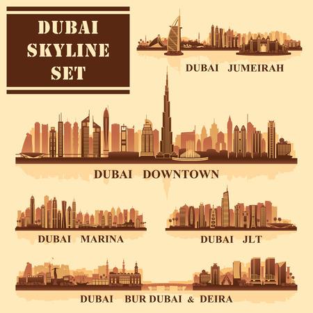 Set of Dubai districts, vector illustration Vektoros illusztráció