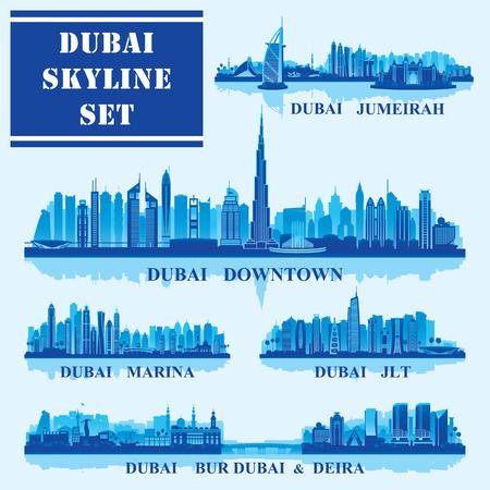 Set of Dubai districts, vector illustration