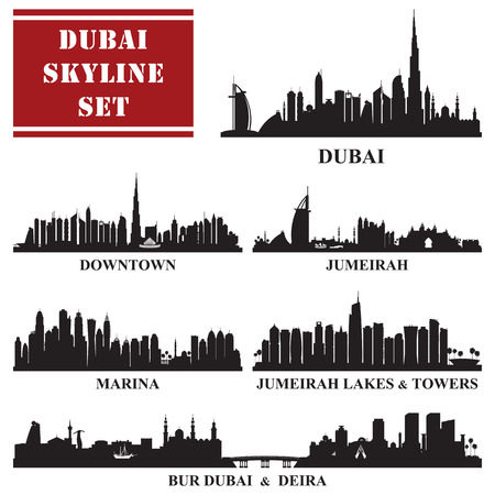 districts: Set of Dubai districts, vector illustration