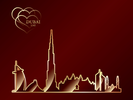 Gold silhouette of Dubai on red background, vector illustration
