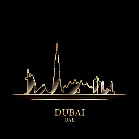 Gold silhouette of Dubai on black background, vector illustration  イラスト・ベクター素材