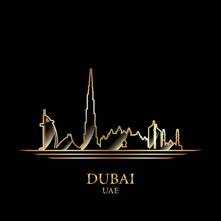 Gold silhouette of Dubai on black background, vector illustration Иллюстрация