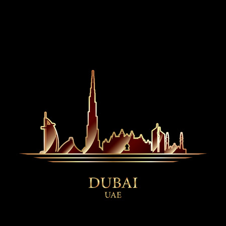gold silhouette: Gold silhouette of Dubai on black background, vector illustration Illustration