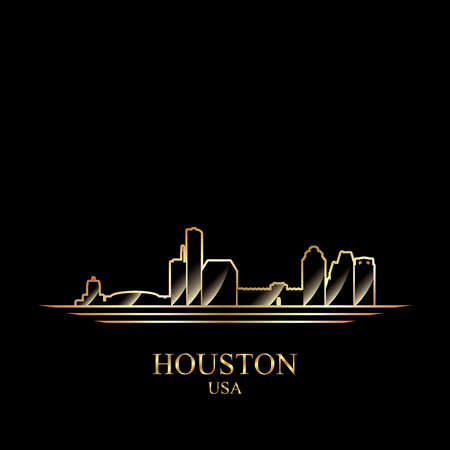 gold silhouette: Gold silhouette of Houston on black background, vector illustration