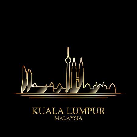Gold silhouette of Kuala Lumpur on black background, vector illustration