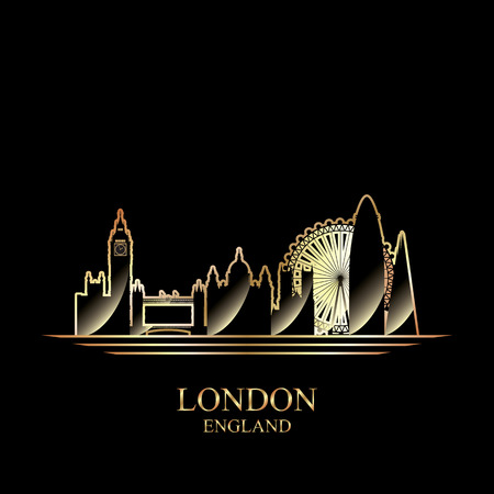 gold silhouette: Gold silhouette of London on black background, vector illustration