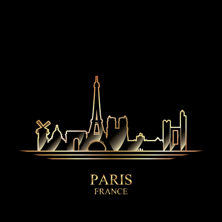 gold coast: Gold silhouette of Paris on black background, vector illustration