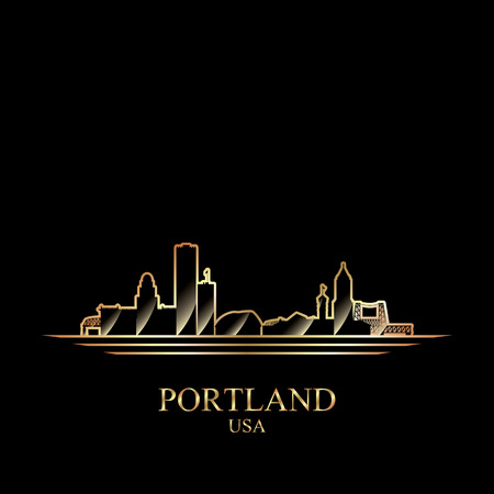 gold silhouette: Gold silhouette of Portland on black background, vector illustration
