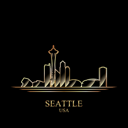 Gold silhouette of Seattle on black background, vector illustration